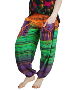 Striped Seersucker Harem Hippie Trouser