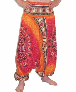 Thai Circle Print Harem Trouser and Jumpsuit Orange