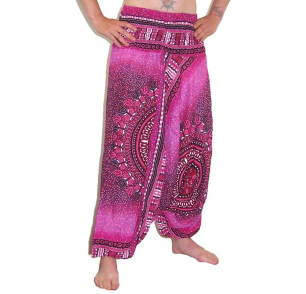 Thai Circle Print Harem Trouser and Jumpsuit Pink