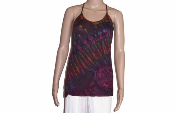 Tie Dye Strappy Top with Crossed BackBrown
