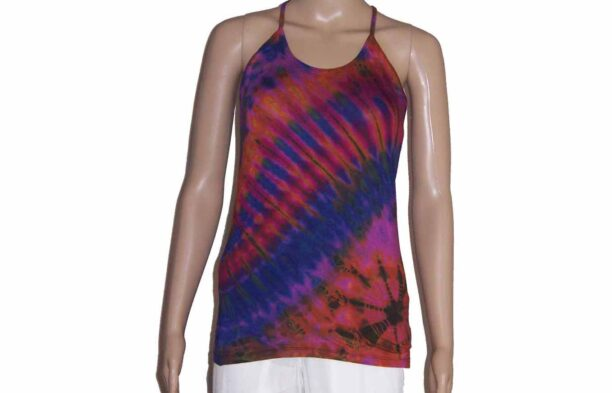 Tie Dye Strappy Top with Crossed BackPurple