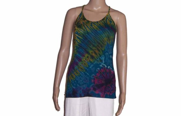Tie Dye Strappy Top with Crossed BackTurquoise