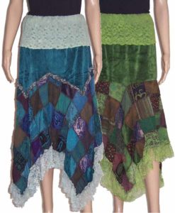 Velvet Patchwork Hippy Skirt with Lace Top and Edging