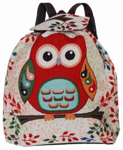 White Owl Backpack With Velcro Fastener