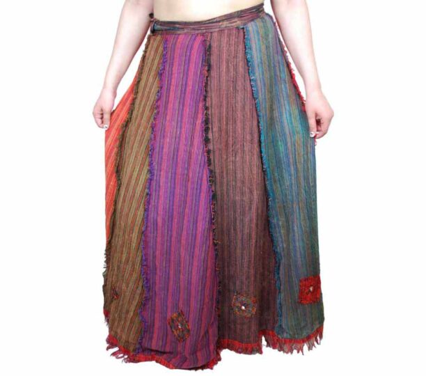 Wrap Around Long Panel Skirt