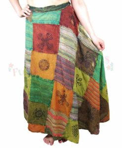 Wrap Around Patchwork Long Skirt with Print